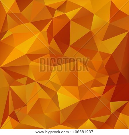 vector polygonal background with irregular tessellations pattern - triangular design in honey colors - yellow orange red poster