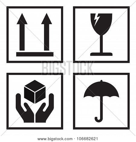 Fragile or packaging signs. Black fragility icons on white background. Vector illustration.