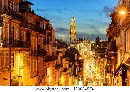 Panorama of Porto with Dos Clerigos cathedral at night Portugal poster