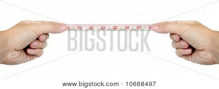 Isolated Hands Measuring By Tape Measure