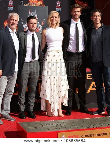 LOS ANGELES - OCT 31:  Josh Hutcherson, Jennifer Lawrence, Liam Hemsworth, guests at the Hunger Games Handprint and Footprint Ceremony at the TCL Chinese Theater on October 31, 2015 in Los Angeles, CA