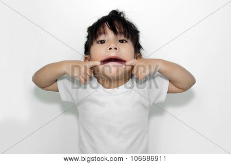 close up asian girl playing her mouth in funny action poster