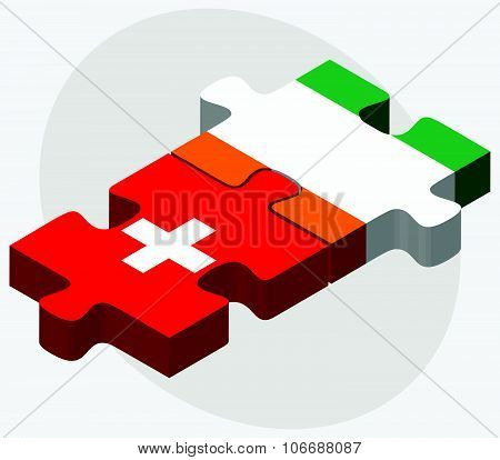 Switzerland And Cote Divoire Flags