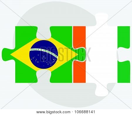 Brazil And Cote Divoire Flags