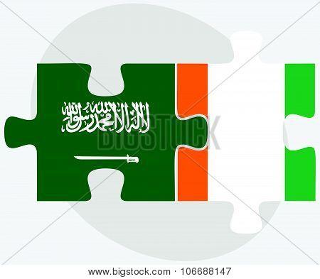 Saudi Arabia And Cote Divoire Flags