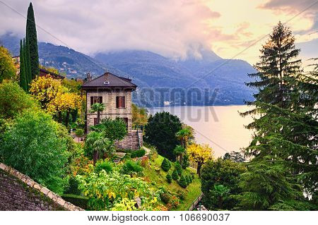 Luxury villa and garden on Como Lake by Milan Italy poster