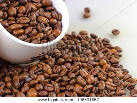 Coffee Beans With White Mug Isolated