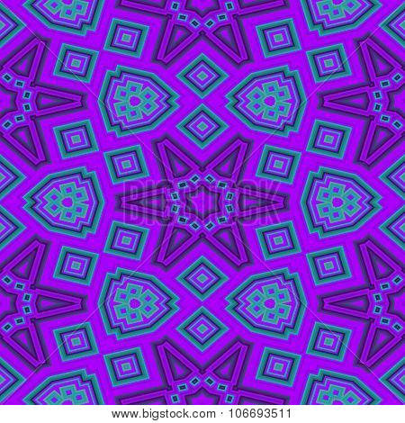 Abstract geometrical decorative purple blue tileable pattern