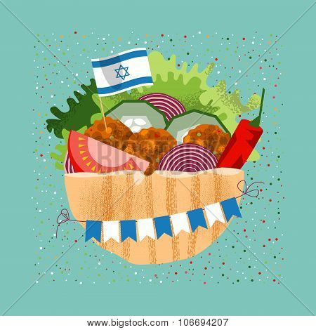 Falafel With The Israeli Flag And Garland For Independence Day.