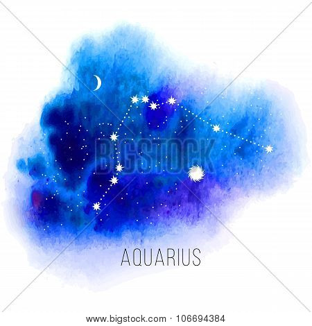 Astrology sign Aquarius on watercolor background.