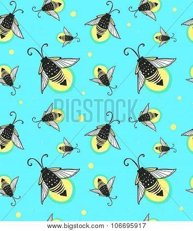 Hand-drawn seamless cartoon fireflies bugs design.