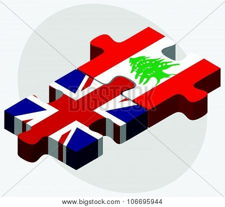 United Kingdom And Lebanon Flags