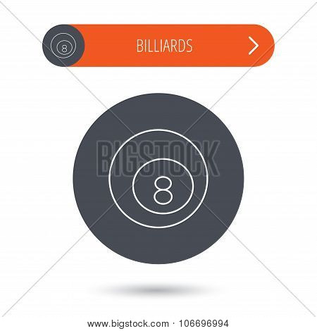 Billiard ball icon. Pool or snooker equipment.