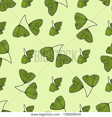 Seamless pattern with leaves of Gingko biloba