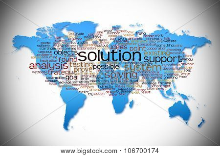 Word Cloud Of Solution With World Map Background