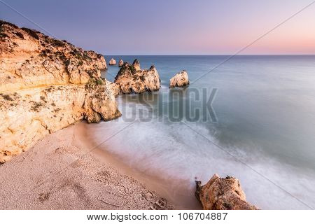 Beach of the three brothers from cliff at Portimao, Algarve, Portugal.
