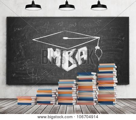 A Stair Is Made Of Colourful Books. A Graduation Hat Is Drawn On The Black Chalkboard. Mba Concept.