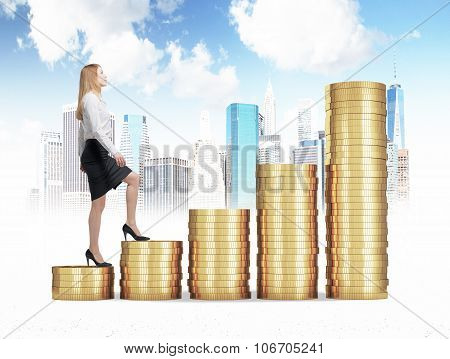 A Woman In Formal Clothes Is Going Up Through A Stairs Which Are Made Of Golden Coins. A Concept Of