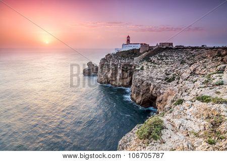 Sunset at Cape St. Vincent, Sagres, Algarve, Portugal