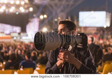 Photographer Working At Expo 2015 In Milan, Italy