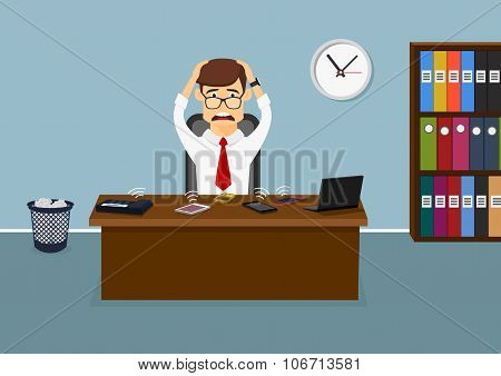 Stressful businessman has a lot telephone calls