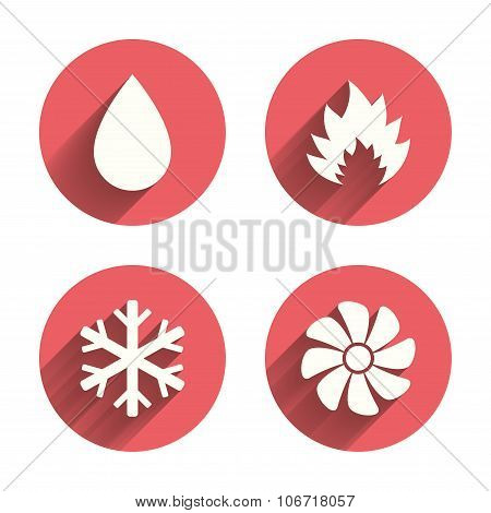 HVAC icons. Heating, ventilating and air conditioning symbols. Water supply. Climate control technology signs. Pink circles flat buttons with shadow. Vector poster