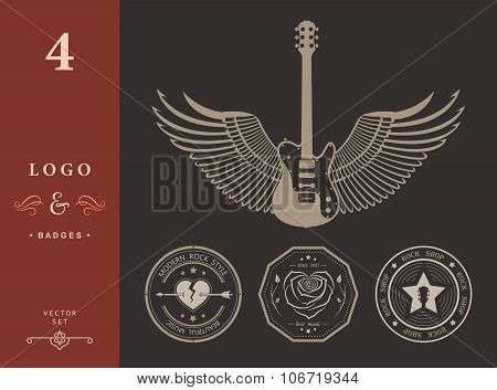 Set Of Vintage Logo Of Rock Music And Rock And Roll