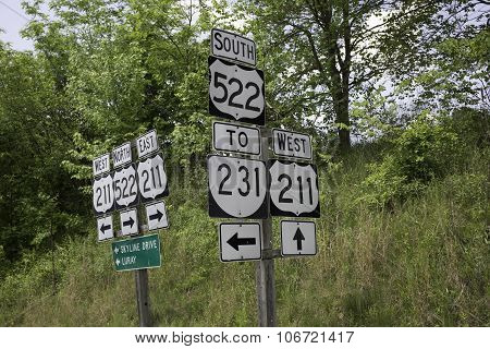 Road signs in Sperryville, Virginia.