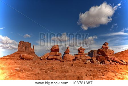 Prayer Rocks Or Cairns In Monument Valley