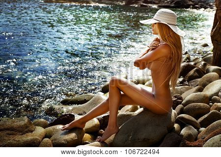 Sexy Naked Woman On The Beach.