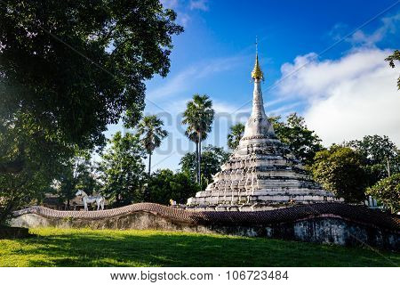 Old White Pagoda In Nan Province Of Thailand