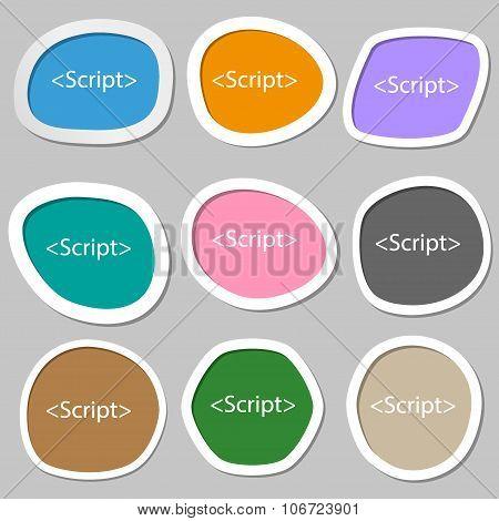 Script Sign Icon. Javascript Code Symbol. Multicolored Paper Stickers. Vector