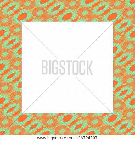 Frame in the shape of a regular square with orange green fractal filigrate pattern poster