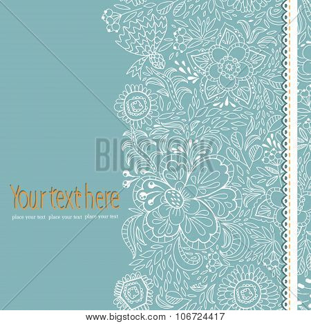 Stock vector wedding card with abstract flowers and lace on a blue background.
