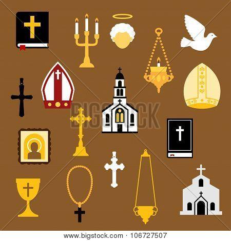 Religious christian and catholic flat icons