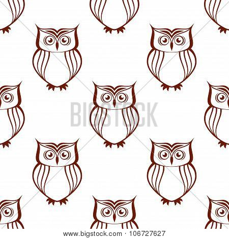 Brown owls silhouette seamless pattern