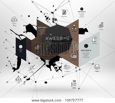Geometric Polygonal Elements. Scientific Future Technology Concept. Template with Icons and Options. Infographic Elements. Design Layout for Business Cards, Websites, Presentations, Flyers and Posters poster