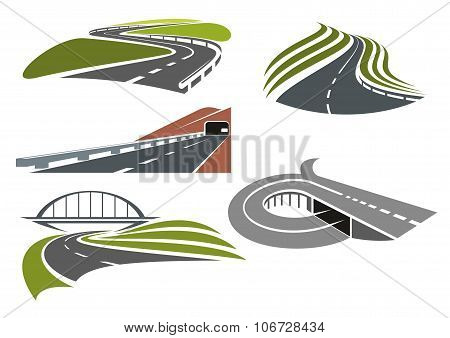 Roads and highways icons set