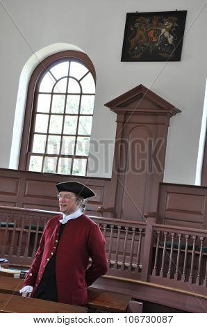 WILLIAMSBURG, VA - SEP 6: The Courthouse on Duke of Gloucester Street in Colonial Williamsburg, as seen on Sep 6, 2015. The restored town is a living-history museum and a major attraction for tourist.