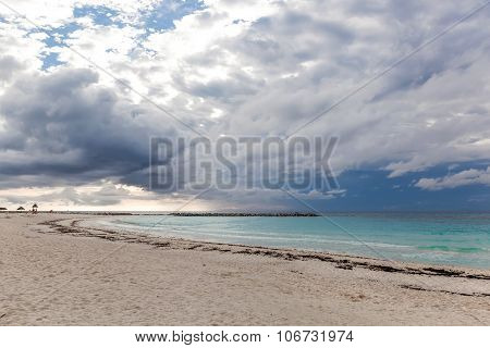 Caribbean Beach In Bad And Cloudy  Weather