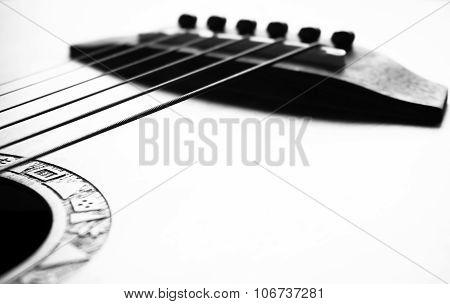 Acoustic Guitar Focus On Bridge And Strings