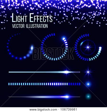 Glowing preloaders and progress bars vector set