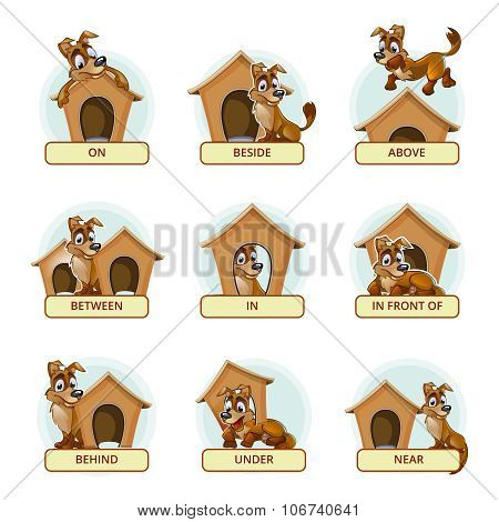 Cartoon dog in different poses to illustrate English prepositions of place. Vector illustration for