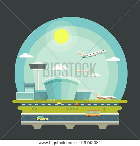 Airport with planes or aircrafts in flat design style. Transport air travel concept background