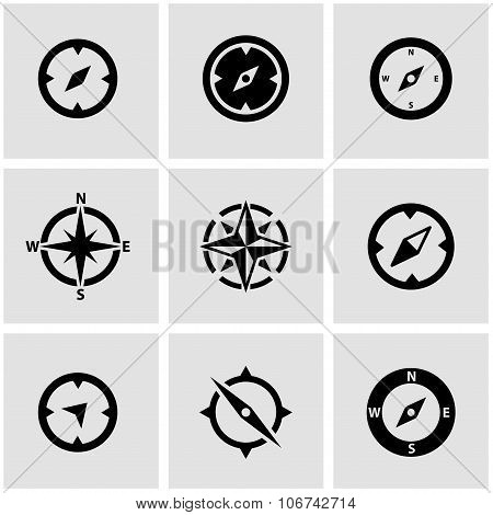 Vector Black Compass Icon Set