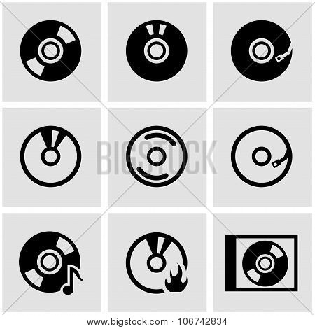 Vector Black Cd Icon Set