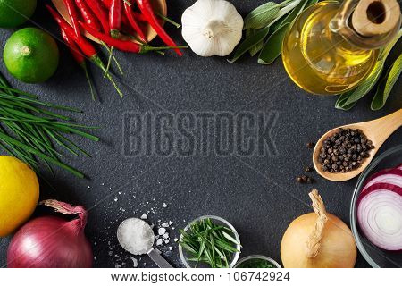Spices And Food Ingredients On Slate Background