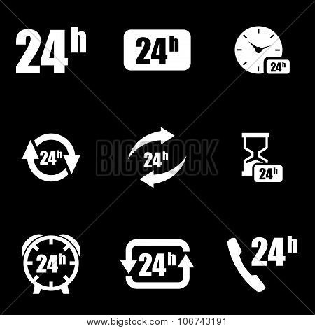 Vector White 24 Hours Icon Set