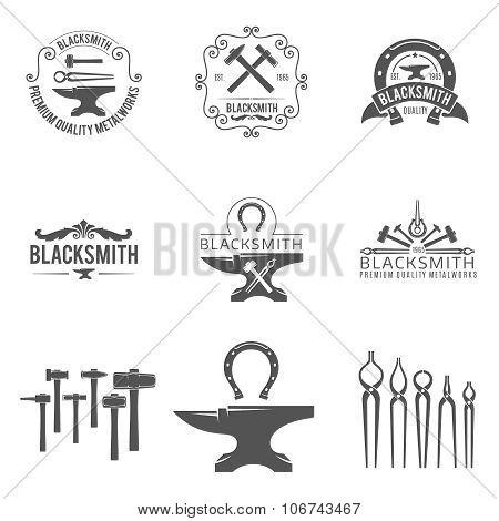 Vintage blacksmith and metalworks logos, emblems, labels black vector set