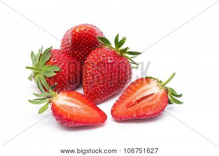 The strawberry isolated over white